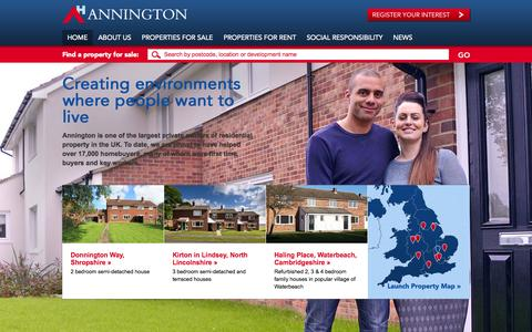 Screenshot of Home Page annington.co.uk - Property for first time buyers and MoD homes for sale | Annington Homes - captured Oct. 4, 2014
