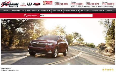 Screenshot of Testimonials Page oaklawntoyota.com - Customer Reviews, Testimonials - Oak Lawn Toyota - captured Jan. 10, 2016