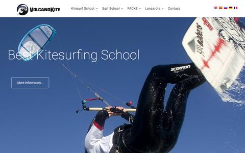 Screenshot of Home Page volcanokite.com - kite surfing and surf school and apartments in Famara Lanzarote, spain - captured Sept. 11, 2015