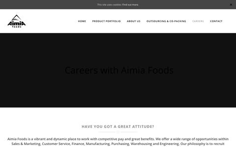 Screenshot of Jobs Page aimiafoods.com - Careers | Aimia Foods - captured Oct. 7, 2017