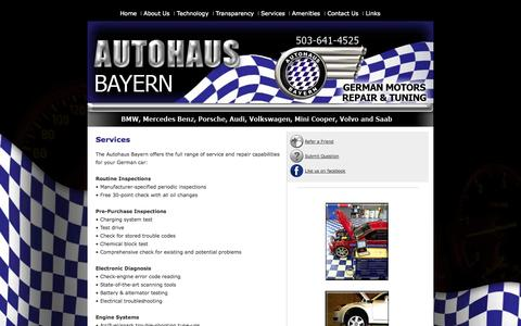 Screenshot of Services Page autohausbayern.com - Autohaus Bayern - Services - Beaverton, Oregon - Services The Autohaus Bayern offers the full range of service and repair - BMW repair and - captured Oct. 4, 2014