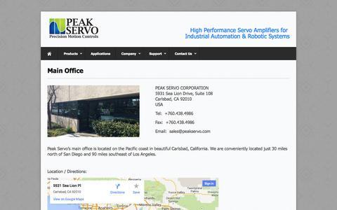 Screenshot of Contact Page peakservo.com - Main Office | Peak Servo Corporation - captured Oct. 2, 2014