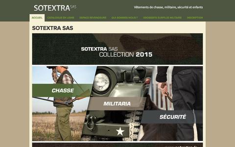 Screenshot of Home Page sotextra.fr - Vêtements de chasse, Vêtements militaires, Vêtements de pêche, Vêtements de sécurité - captured March 4, 2016