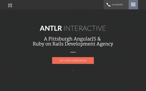 Screenshot of Home Page antlr-interactive.com - ANTLR Interactive | Pittsburgh AngularJS & Ruby on Rails Development Agency - captured Dec. 23, 2015
