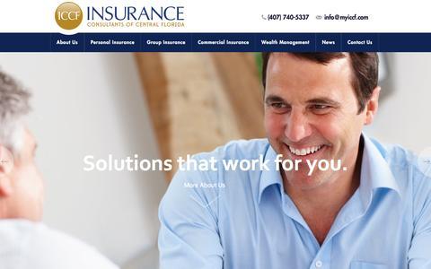 Screenshot of Home Page myiccf.com - Insurance Orlando FL - Health Insurance Agency in Orlando - ICCF - captured Oct. 6, 2014