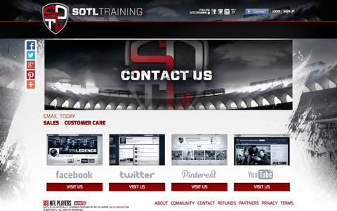 Screenshot of Contact Page sotl.com - Pages | Online Football Training | SOTL - captured Sept. 19, 2014