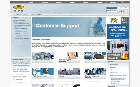Screenshot of Support Page evgroup.com - EVG|Customer Support - captured Oct. 1, 2014