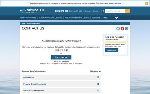 Screenshot of Contact Page ncl.com - Contact Us -FR/EN- - captured Sept. 23, 2018