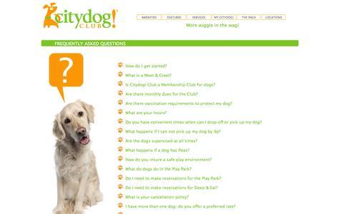 Screenshot of FAQ Page citydogclub.com - Citydog! Club FAQs - Dog Daycare, Dog Boarding, Dog Grooming - West Los Angeles, Culver City, Seattle, Dallas and San Diego - captured Sept. 29, 2014