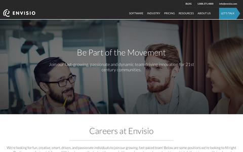 Screenshot of Jobs Page envisio.com - Career Opportunities at Envisio - captured March 8, 2018