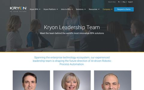 Screenshot of Team Page kryonsystems.com - Robotic Process Automation Vendors | Kryon - captured May 17, 2018