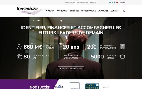Screenshot of Home Page seventure.fr - Identifier, financer et accompagner les futurs leaders de demain | Seventure - captured June 28, 2017