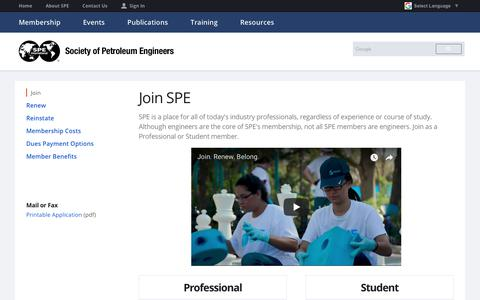 Screenshot of Signup Page spe.org - Join SPE | Society of Petroleum Engineers - captured June 28, 2018