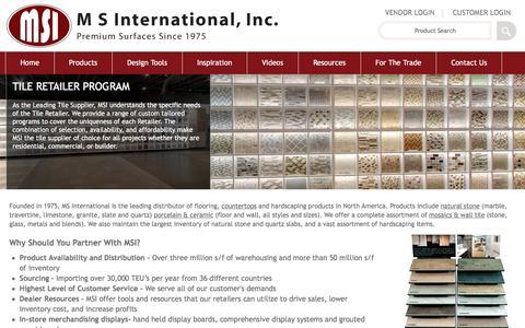 Screenshot of msistone.com - Tile Retailers | M S International, Inc. | Premium Surfaces - captured June 9, 2016