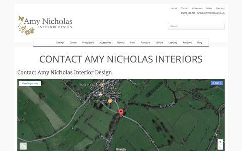 Screenshot of Contact Page amynicholas.co.uk - Contact Amy Nicholas Interiors - Amy Nicholas Interior Design - captured Oct. 8, 2017