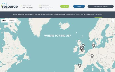 Screenshot of Locations Page resourcegroup.co.uk captured Sept. 20, 2018