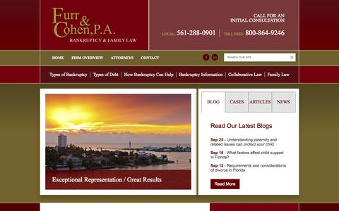 Screenshot of Home Page furrcohen.com - Boca Raton Bankruptcy Lawyer | West Palm Beach Family Law Attorney - captured Oct. 1, 2014