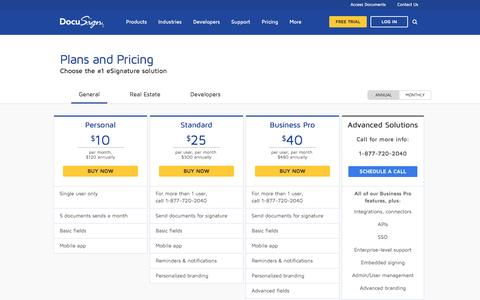 Screenshot of Pricing Page docusign.com - Pricing | DocuSign - captured Dec. 15, 2016