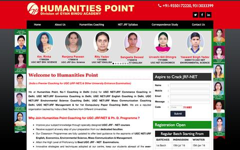 Screenshot of Home Page humanitiespoint.com - UGC NET Coaching Delhi | UGC NET/JRF Coaching Delhi - captured March 26, 2016
