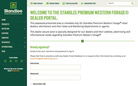 Screenshot of Login Page standleeforage.com - Dealer Portal Registration and Login   Standlee Forage - captured Dec. 1, 2016
