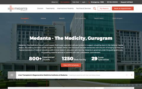 Screenshot of Locations Page medanta.org - Contact India's Largest Multi-Super Speciality Hospital in Gurgaon, Delhi NCR | Medanta - captured Oct. 18, 2017