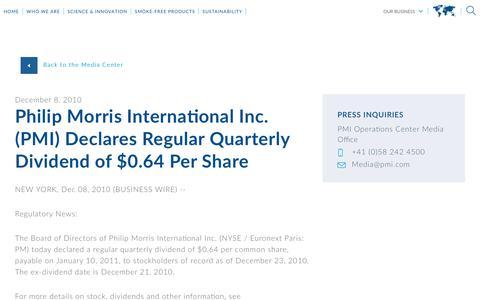Screenshot of Press Page pmi.com - Philip Morris International Inc. (PMI) Declares  Regular Quarterly Dividend of $0.64 Per Share - captured Nov. 1, 2018