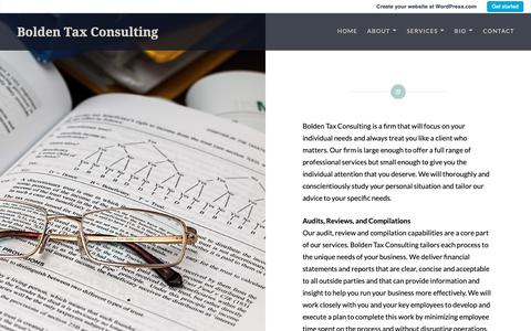 Screenshot of Services Page wordpress.com - Services – Bolden Tax Consulting - captured Dec. 18, 2018
