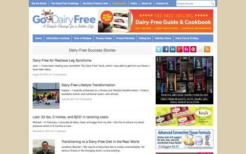 Screenshot of Testimonials Page godairyfree.org - Dairy-Free Success Stories - Go Dairy Free - captured Sept. 19, 2014