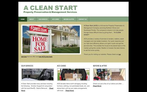 Screenshot of Home Page acleanstart.net - A Clean Start - Property Preservation & Management Services - captured Sept. 27, 2014