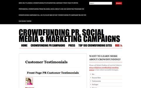 Screenshot of Testimonials Page wordpress.com - Customer Testimonials | Crowdfunding PR, Social Media & Marketing Campaigns - captured Nov. 25, 2016