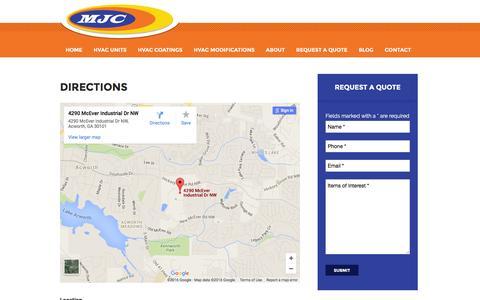Screenshot of Maps & Directions Page mjcinc.com - Directions - MJC, Inc - captured June 24, 2016