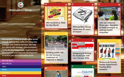 Screenshot of Home Page metgroup.com - Metropolitan Group - captured Oct. 6, 2014