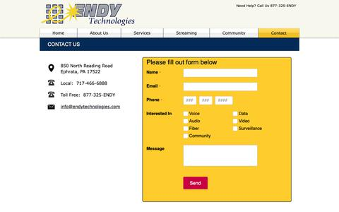Screenshot of Contact Page endytechnologies.com - Contact | Endy Technologies - captured Nov. 10, 2018