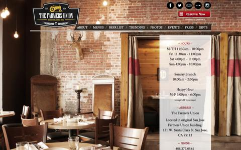 Screenshot of Home Page thefarmersunion.com - Home - The Farmers Union Restaurant & Bar - captured April 21, 2016