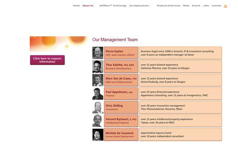 Screenshot of Team Page pharmadiagnostics.com - Innovators in label-free screening for pharmaceutical discovery - captured July 19, 2014