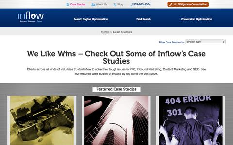 Screenshot of Case Studies Page goinflow.com - Read about Inflow's Case Studies and Testimonials - captured Sept. 23, 2014