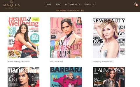 Screenshot of Press Page marula.com - Benefits of Pure Marula Oil in the News | Marula Pure Beauty Oil - captured Dec. 20, 2018