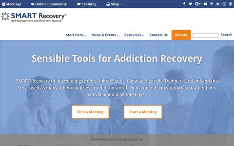 Screenshot of Home Page smartrecovery.org - Home - SMART Recovery - captured Feb. 19, 2018