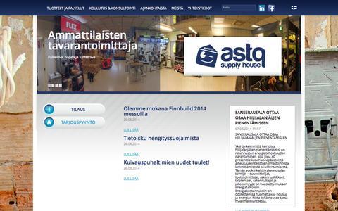 Screenshot of Home Page astq.fi - Tuotteet ja palvelut « ASTQ Supply House - captured Oct. 4, 2014