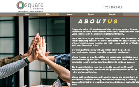 Screenshot of About Page osquaresolutions.com - Osquare Solutions | About - captured Nov. 7, 2018