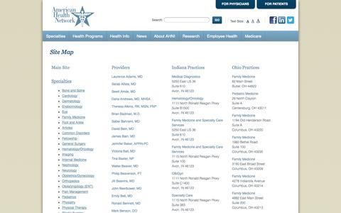 Screenshot of Site Map Page ahni.com - Site Map - captured Nov. 3, 2014
