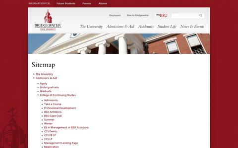 Screenshot of Site Map Page bridgew.edu - Site map | Bridgewater State University - captured Sept. 24, 2018