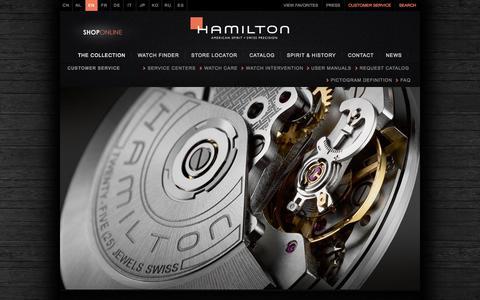 Screenshot of Support Page hamiltonwatch.com - Customer Service | Hamilton Watch - captured Sept. 24, 2014