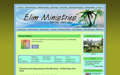 Screenshot of Contact Page elim.co.za - Contact Details | Elim Ministries - captured Nov. 10, 2018