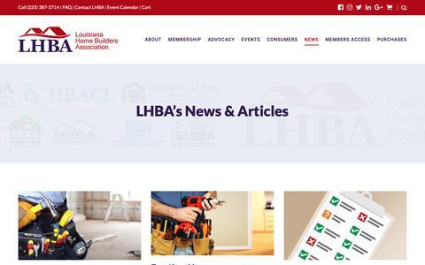 Screenshot of Blog lhba.org - LHBA's News & Articles - Louisiana Home Builders Association - LHBA.org - captured Sept. 30, 2018