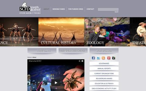 Screenshot of About Page scfd.org - Scientific and Cultural Facilities District - captured Sept. 22, 2014