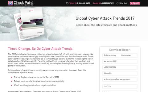 Screenshot of Landing Page checkpoint.com - Global Cyber Attack Trends 2017 | Check Point Software - captured Sept. 2, 2017