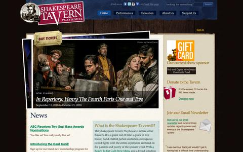Screenshot of Home Page Site Map Page shakespearetavern.com - The Shakespeare Tavern Playhouse - captured Oct. 4, 2018