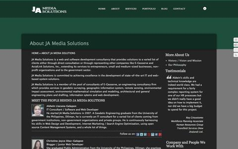 Screenshot of About Page jamediasolutions.com - About JA Media Solutions  –  JA Media Solutions | GIS Services, Software and Web Development - captured Sept. 29, 2014