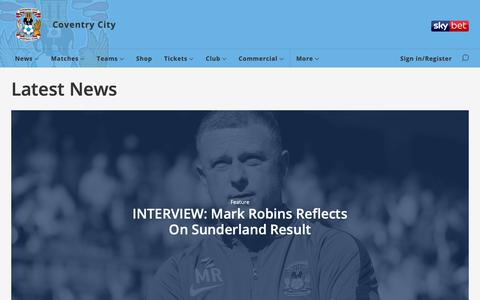 Screenshot of Press Page ccfc.co.uk - Latest News - Coventry City - captured Sept. 30, 2018